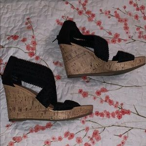 Black strappy wedges. New!!!